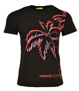 69416a6b7 BNWT VERSACE JEANS BLACK RED PINK PALM TREE TROPICAL PRINT T-SHIRT ...