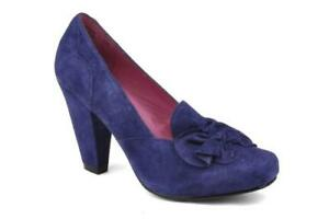 RRP-85-Hush-Puppies-Liliana-Ladies-Women-Suede-Court-Heel-Shoes-Purple-Sz-UK-8