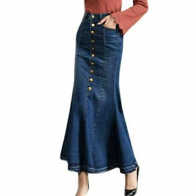 Fashion Women/'s Casual OL Work Denim Jeans Mermaid Skirts Long Skirt Maxi Dress