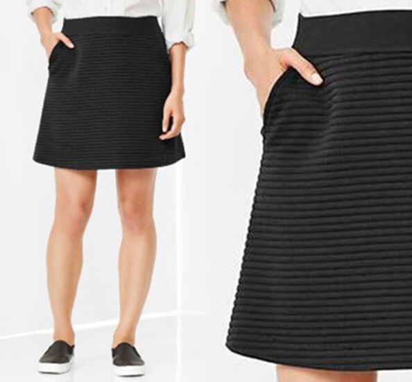 174132ec23 Gap Quilted Striped Lines Jacquard Textured Knit A-line Mini Skirt Black S M