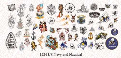1//12 scale Custom Tattoos Pour Action Fig US Navy /& Marine-Waterslide Decals