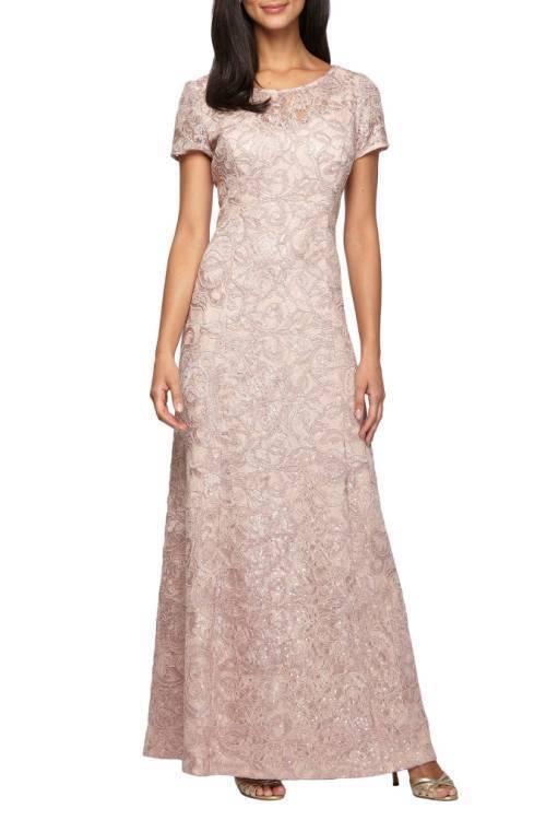 ALEX EVENINGS lace a-line bluesh GOWN DRESS sz 8P