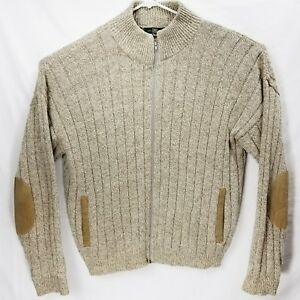 28ad2cdf03e68 Orvis Sweater Cardigan Men s Large Beige Knit Wool Zip Suede Elbow ...