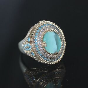 925-Sterling-Silver-Handmade-Authentic-Turkish-Turquoise-Ladies-Ring-Size-10