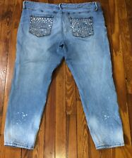 4ed4210e1ac974 Ava Viv Size 24W Power Stretch Jegging Jeans Light Wash Faded Bleach  Distressed