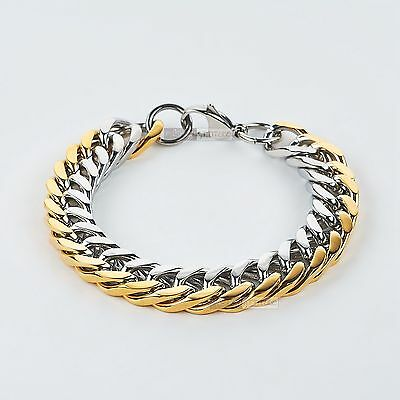 Gold silver stainless steel bracelet bikies chain thick heavy solid