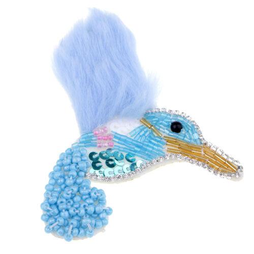 1pc oiseau strass paillettes Patch Perles Tissu Applique Accessoire Pour À faire soi-même Artisanat