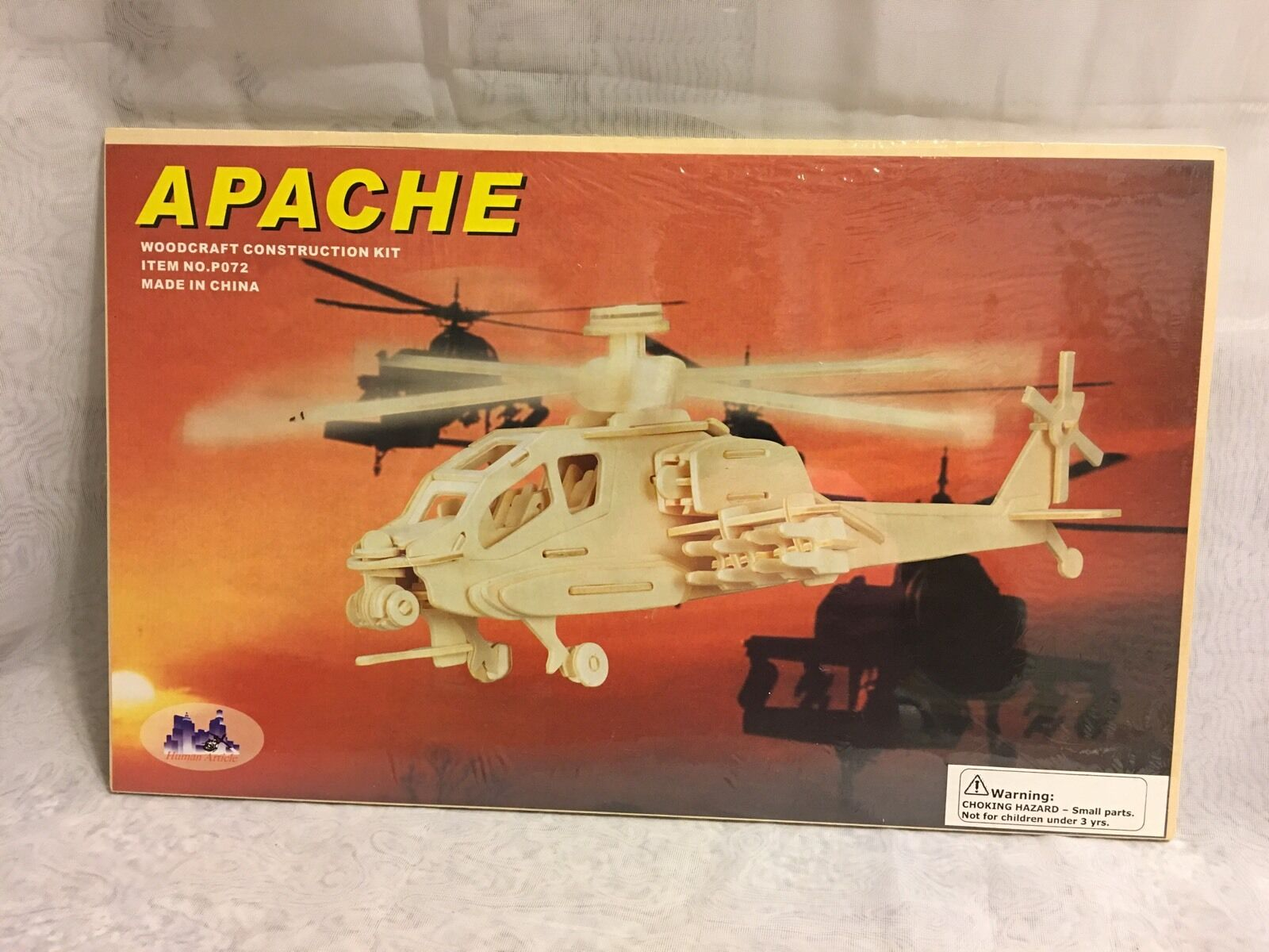 Woodcraft Construction Kit Apache Assembly Helicopter 3D P072 Military New