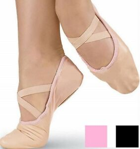 Ballet-Leather-Dance-Shoes-Full-Sole-Shoes-With-Attached-Crossed-Elastics