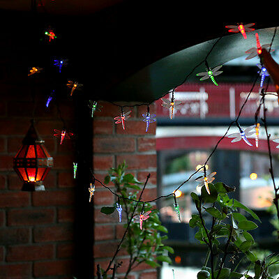 Modern Outdoor Solar Powered 30 Multi Coloured LED Dragonfly String Fairy Lights