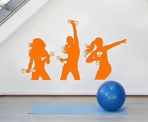 Vinyl Wall Decal Sport Fitness Girls Gym Aerobics Dumbbells Stickers (1400ig)