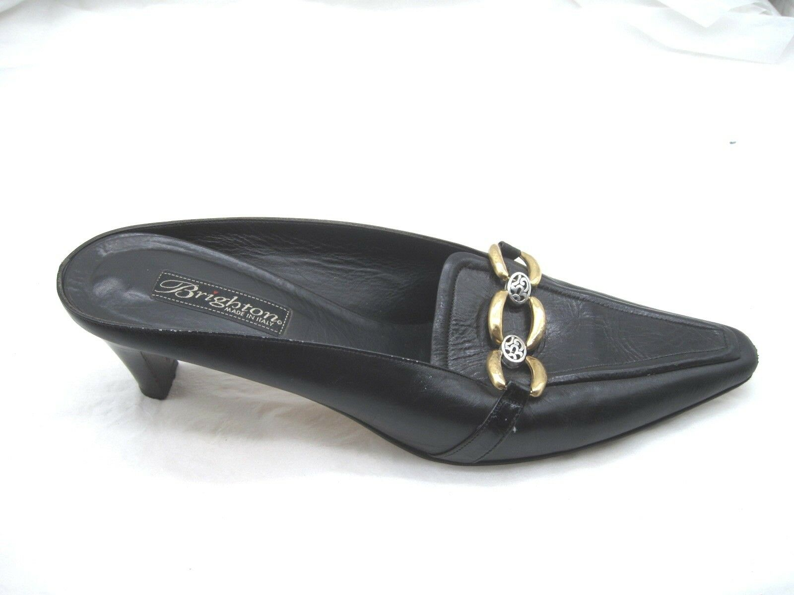Brighton 9M  40 Tosca black leather chain Italian mules womens heels pumps shoes