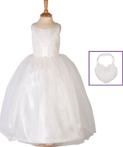 Girl Ballgown Floral Bridesmaid Dress Pink Ivory White Child Age 3 4 5 6 7 8