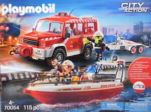 PLAYMOBIL-Feuerwehr-70054-Feuerwehrfahrzeug-mit-Loeschboot-Anhaenger-Exclusiv-NEU