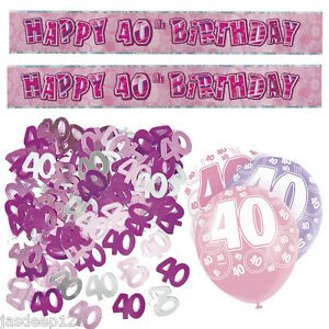 Image Is Loading Pink 40th Birthday Banner Party Decorations Pack Kit