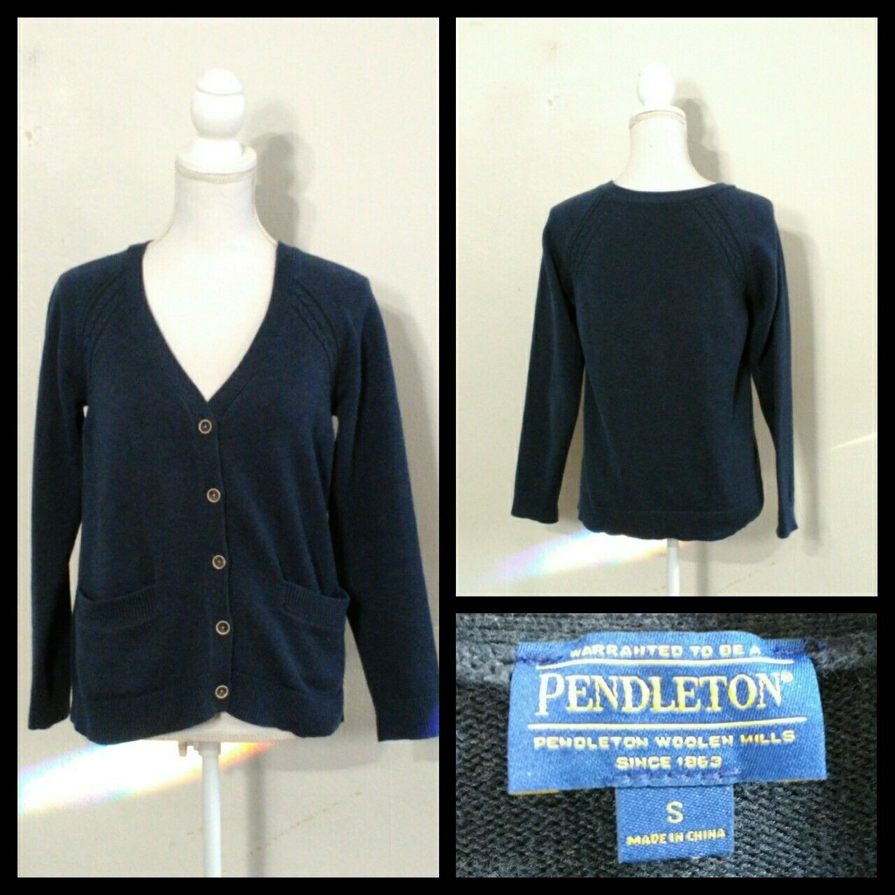 Pendleton Vintage Cardigan Sweater Women's Sm. bluee Button-Up Inv S9752