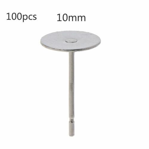 100x Flat Pad Stud Earring Post Peg Pin DIY Making Findings For Jewelry Making
