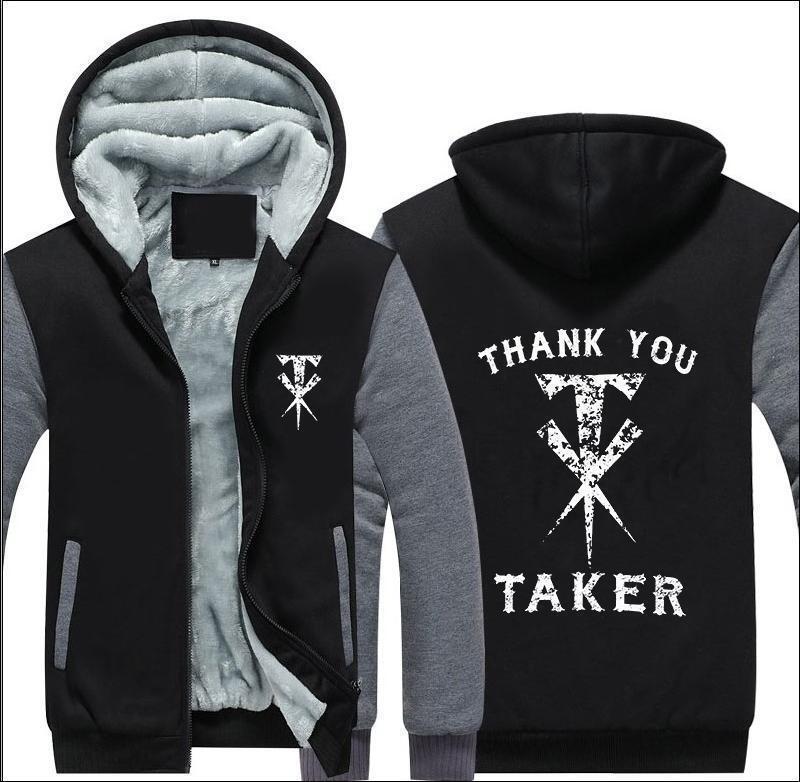 2018 WWE UNDERTAKER Téli Mens Jacket Pulóverek Hoodie Thicken Zipper Coat