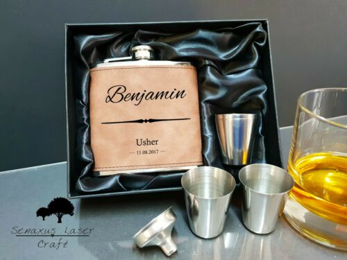 6oz Suede personalised Hip Flask.Wedding Groom//FOB gift with box choice SEF51