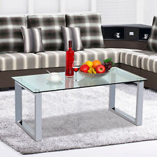 Modern Glass Top Cocktail Coffee Table Chrome Finish Legs Glass Side End Tables