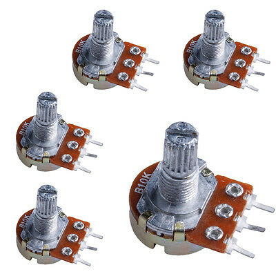 5pcs 10K ohm Linear Taper Rotary Potentiometer Panel pot B10K New