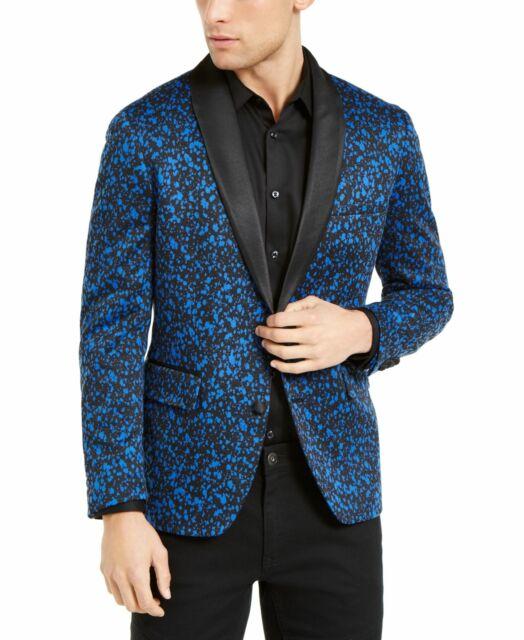 INC Mens Suit Jacket Blue Size 3XB Big & Tall Slim Fit Paint Splatter $189 #015
