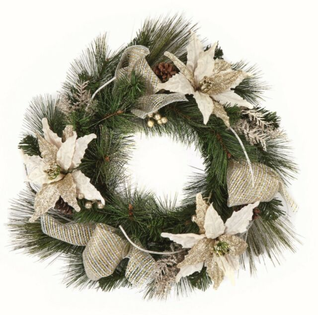 Gold Christmas Wreath.Champagne Gold Christmas Wreath Decoration 60cm