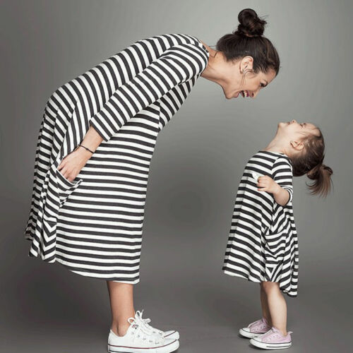 Mother and daughter dresses Striped matching mom girls Maxi Dress Family Clothes