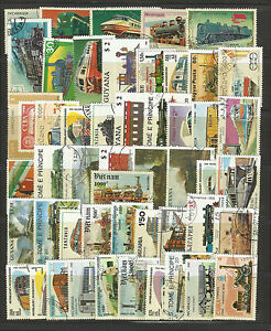 RAILWAYS-TRAINS-RAILROADS-Collection-Packet-of-50-Different-WORLD-Stamps