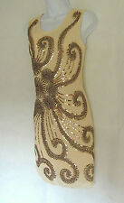 NUDE 1920'S STYLE GATSBY VINTAGE LOOK CHARLESTON SEQUIN FLAPPER DRESS SIZE 10/12