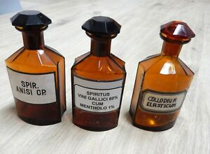 3 Stück Ein Bereicherung Und Ein NäHrstoff FüR Die Leber Und Die Niere Flaschen & Gefäße Alte Berufe Sonnig Alte Apothekerflaschen Braunglas Gefäß Apotheke