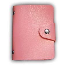 Pink Men Women 24 Card ID Credit Holder Leather Pocket Case Purse Wallet