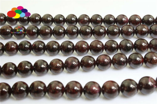 Diy 4//6//8//10//12mm Natural Stone Garnet agate Round Beads fit bracelet necklace
