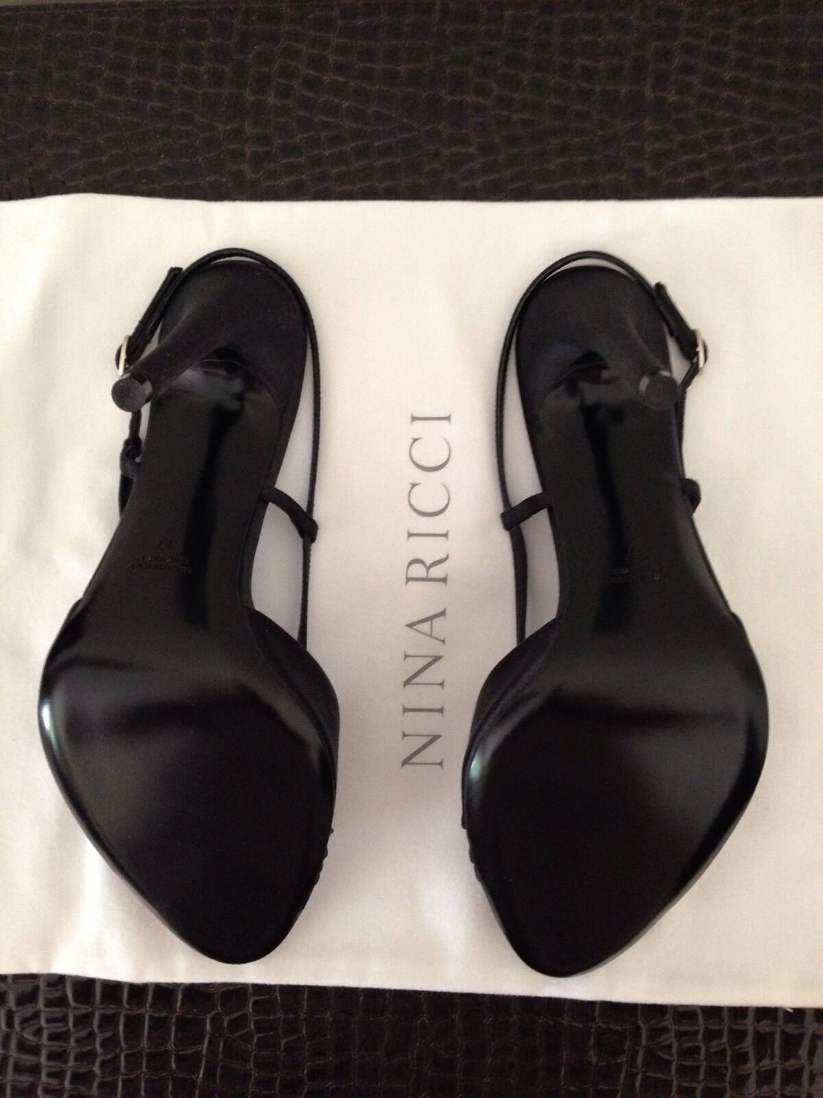 NINA RICCI black satin 5 5 5 stilettos size 37 bow tie adjustable slingback strap 9f954a