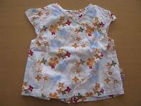 Baby Club Mädchen T-Shirt Gr. 68 weiß mit bunten Blümchen kurzarm 100% Baumwolle