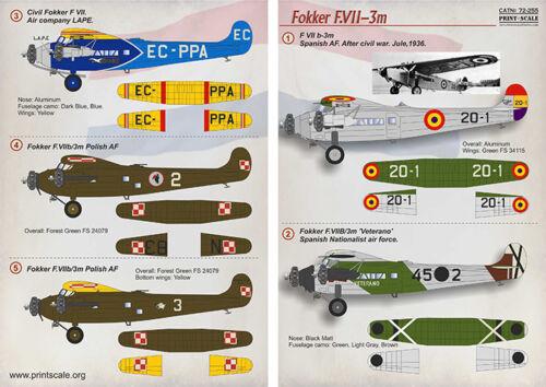 Print Scale Decals 1//72 Fokker f.Vii-3m #72255