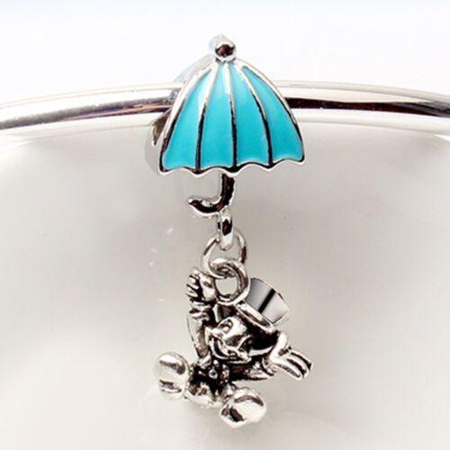 European Silver Charms Snowflake Bead CZ Xmas Pendant Fit 925 Sterling Bracelets