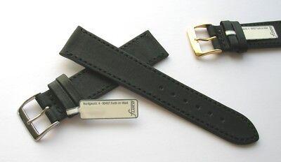 Fluco Uhrenarmband Horween Shell Cordovan Leder schwarz 20 mm Handarbeit