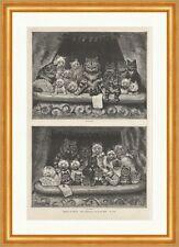 Kätzchen im Theater Louis Wain Tiere Logen Komik Fächer Katzen Holzstich E 13316