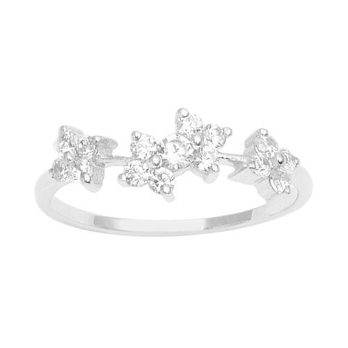 925 Sterling Silver C Z Cluster Floral Design Ring Size 8