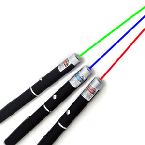 3PCS 1MW Green + Blue Violet + Red Professional Laser Pointer Pen Beam Light USA