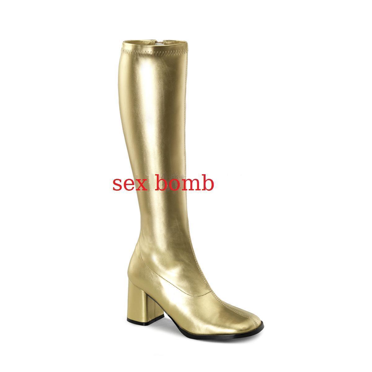 Grandes zapatos con descuento Sexy STIVALI tacco 7,5 ORO dal 35 al 46 zip laterale scarpe cosplay GLAMOUR club