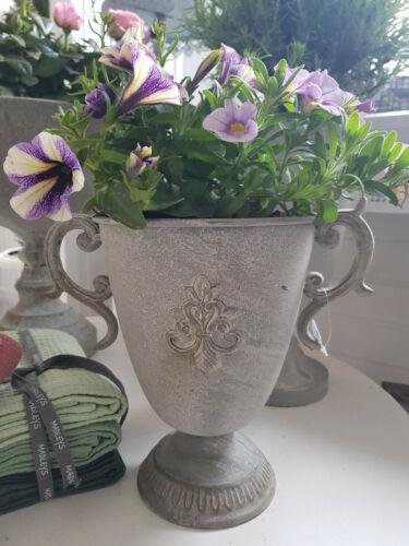 Pokal Pflanzschale Übertopf Metall Grau Garten Shabby Landhaus Vintage 4 Modelle