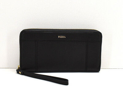 NWT Fossil Jori RFID Zip Clutch Midnight Navy Leather Wallet Ziparound Wristlet