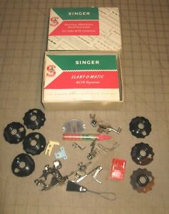1958-Singer-Sewing-Machine-SLANT-O-MATIC-403-SPECIAL-Kit-Attachment-Original-Box