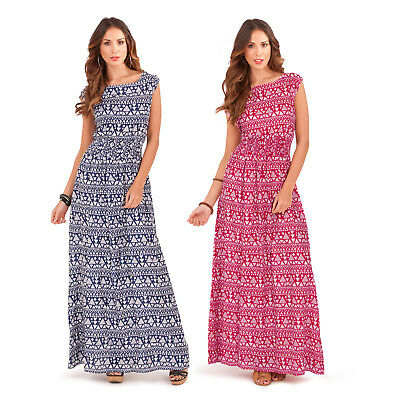Pistachio Womens Aztec Print Elasticated Waist Cap Sleeve New Summer Maxi Dress