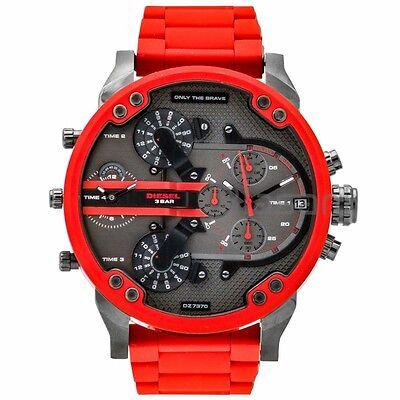 Diesel Original DZ7370 Mr Daddy 2.0 Red Silicone Strap Chronograph Watch 57mm