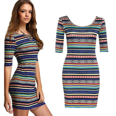 New Womens Short Sleeve Striped Bodycon Casual Party Slim Sexy Short Mini Dress