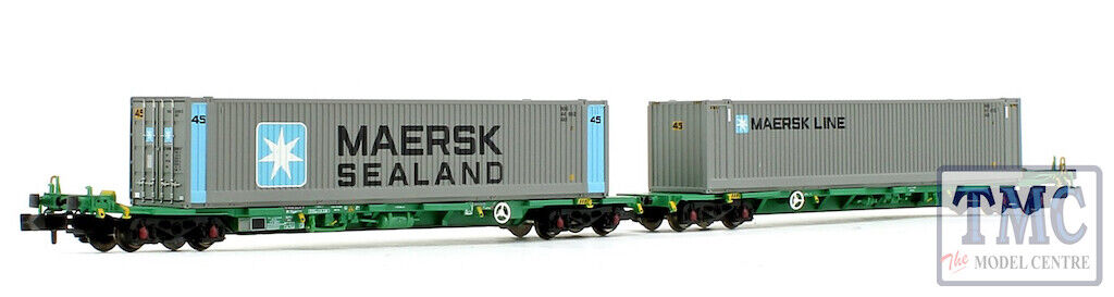 377369 Graham Farish N FIA Intermodal Bogie Wagons w 'Maersk line' 45ft Cont