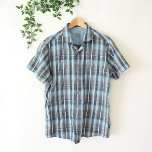 Kuhl-Men-039-s-Short-Sleeve-Tapered-Fit-Button-Front-Collared-Shirt-M-Medium-Plaid